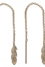 Treasure Silver tread earrings - gold plated - feather