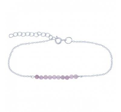 Treasure Silver necklace 3 mm rosequartz  39 + 5 cm