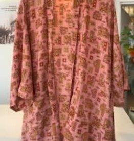 With love Silk kimono pink - short model