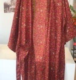 With love Silk kimono burgundy - long model