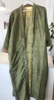 With love Silk kimono moss green - long model
