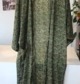 With love Silk kimono dark green - long model