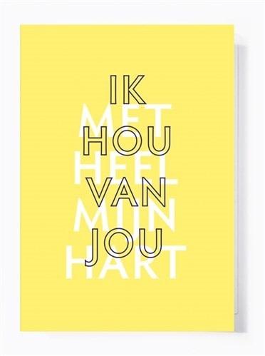 Papette Papette greeting card + enveloppe 'Ik hou van jou met heel mijn hart'