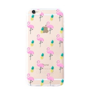 With love Iphone 5 cover -  flamingo & pineapple transparant
