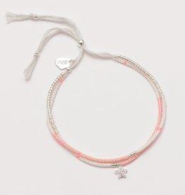 Estella Bartlett Phoebe seed bead bracelet pink & silver - silver plated