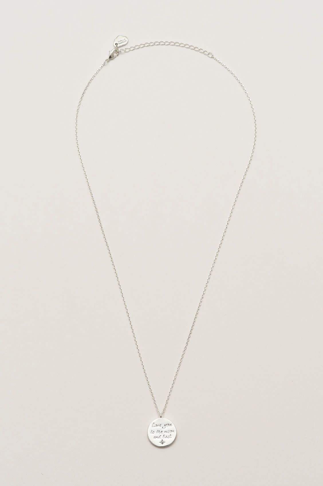 Estella Bartlett 'Love you to the moon and back' necklace - silver plated