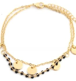 With love With love bracelet gold - black beads and coins