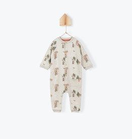 Arsène et les Pipelettes Forest pattern fleece baby's jumpsuit