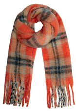 With love Scarf frayed checks coral
