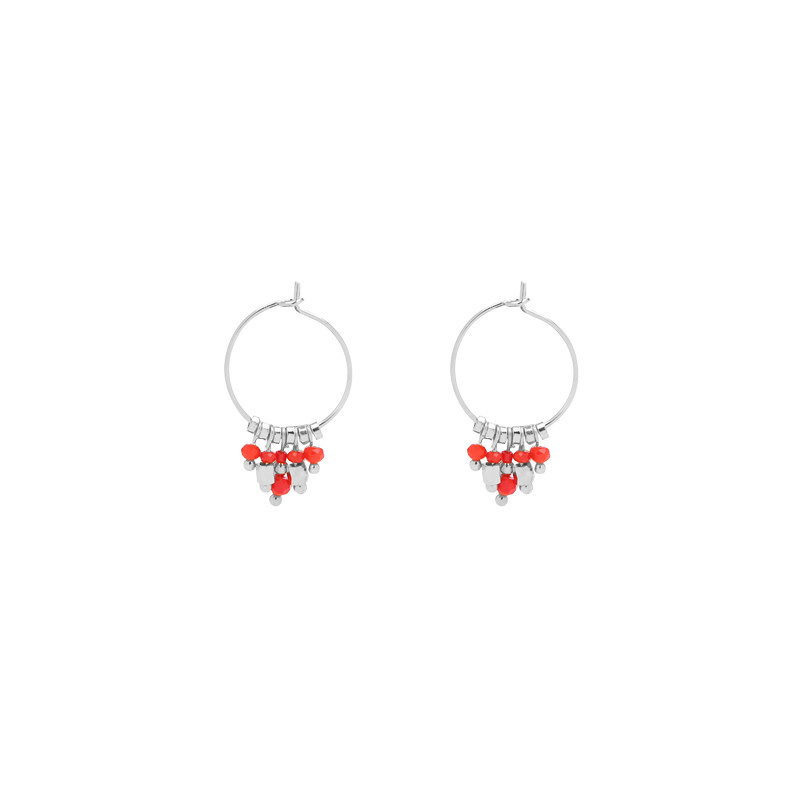 With love Earrings funky dots silver - red