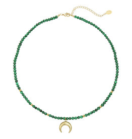 With love Necklace moon beads - green gold