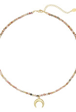 With love Necklace moon beads - pink gold