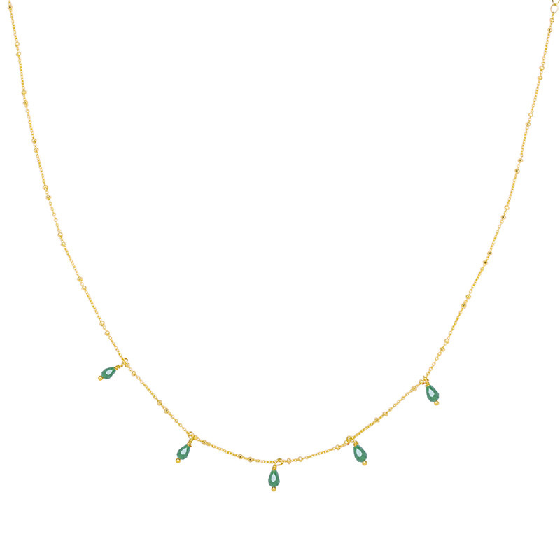 With love Necklace Venus tears - green gold
