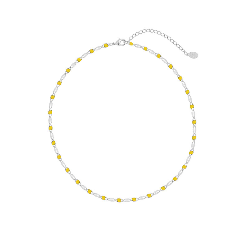 With love Necklace colorful beads - yellow silver