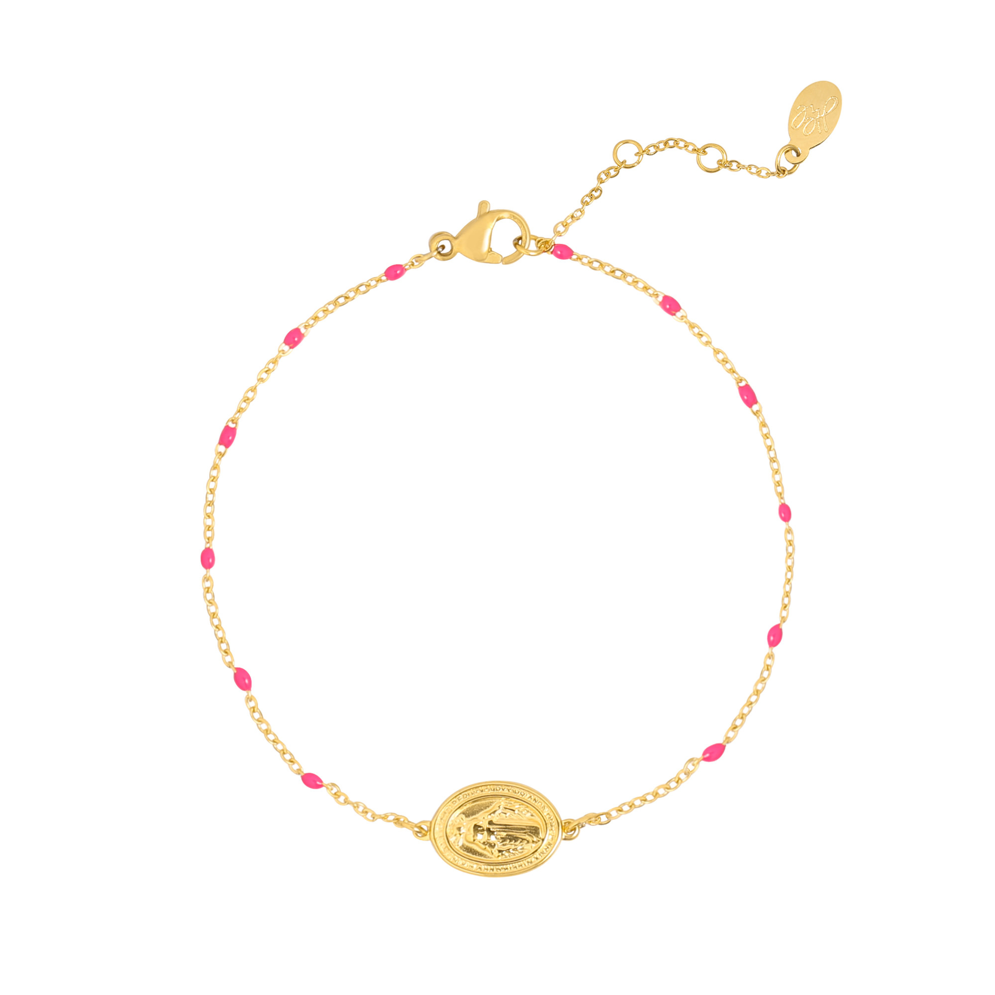 With love Bracelet holy coin - fushia gold