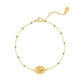 With love Bracelet holy coin - green gold