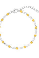 With love Bracelet colorful beads - yellow silver