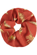 With love Scrunchie golden feather - coral