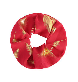 With love Scrunchie golden feather - red