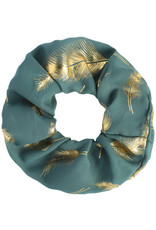 With love Scrunchie golden feather - blue