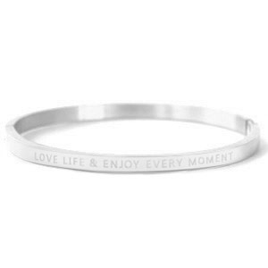 With love With love bangle silver 'love life & enjoy every moment'