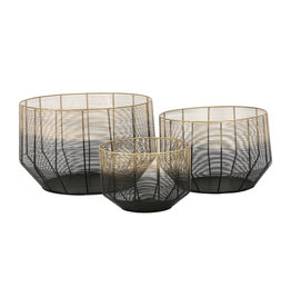 Pomax Metal basket black - gold 25 x 33 x 42 cm
