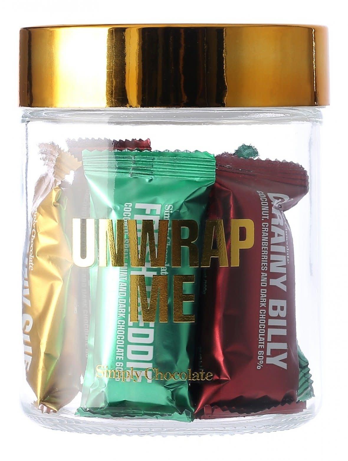 Simply Chocolate Simply Chocolate jar 11 bars  'Unwrap me'
