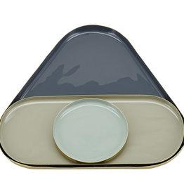 Liv Interior Tray set triangle - dark grey / sand / ice 22x24 cm