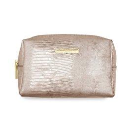 Katie Loxton Katie Loxton make up bag - metallic lizard - rose gold 12x20x8 cm