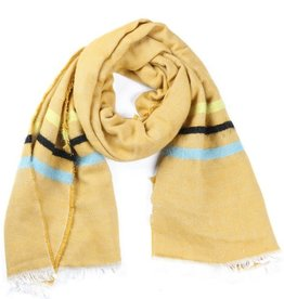 With love Soft scarf lines 180 x 60 cm mustard