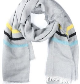With love Soft scarf lines 180 x 60 cm grey