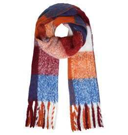 With love Scarf colored blocks blue - burgundy