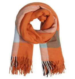 With love Scarf patterned orange - green