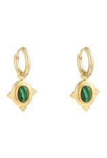 With love Earrings mystic wave - gold green