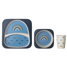 Bloomingville Henry serving set blue bamboo melamine
