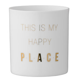 Bloomingville Tea light holder 'this is my happy place' 6 x 8 cm