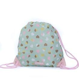 Zebra Swimming bag - hearts green