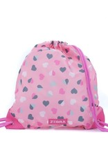 Zebra Swimming bag - hearts pink