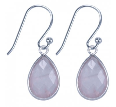 Treasure Silver earrings drop  9 x 13 mm rosequartz