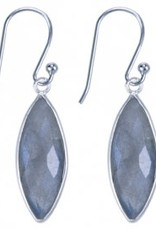 Treasure Silver earrings GP 7 x 21 mm aqua chalcedone