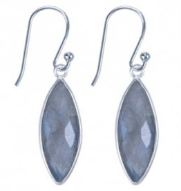 Treasure Silver earrings GP 7 x 21 mm aqua chalcedone