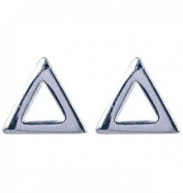 Treasure Silver stud earrings open triangle 6 mm