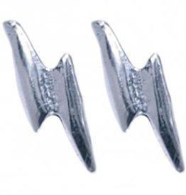 Treasure Silver stud earrings lightning 4 x 9 mm