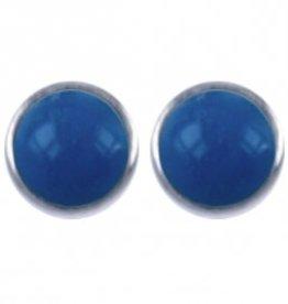 Treasure Silver stud earrings turquoise 2 mm