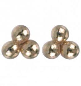 Treasure Silver stud earrings GP 3 dots 1.5 mm