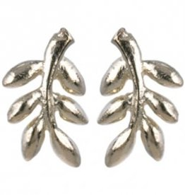 Treasure Silver stud earrings GP laurel leaf 9 x 11 mm