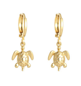 With love Earrings sea turtle gold
