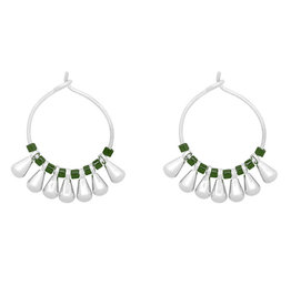 With love Earrings little cones silver green