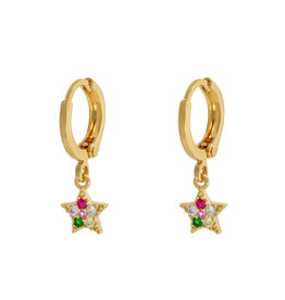 With love Earrings sparkle star - multi gold