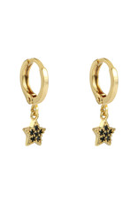 With love Earrings sparkle star - black  gold